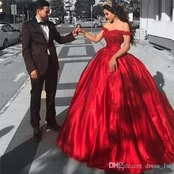 2019 lüks uzun abiye kırmızı saten dantel aplike örgün kapalı omuz balo gelinlik modelleri
