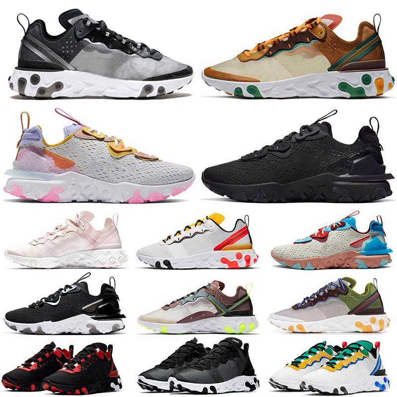 Épicas de diseño de los zapatos corrientes Formadores Reaccionar visión de la marca Element Reaccionar 55 87 pastel tonalidades Vasta gris pálido rosa lavada zapatillas de deporte negras rojas Co