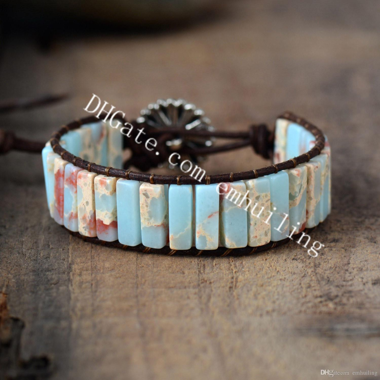 10pcs Chakra Handmade Blue Impression Jasper Agalmatolite Tube Bead Leather Wrap Adjustable Bracelet Natural Shoushan Stones Beaded Bracelet