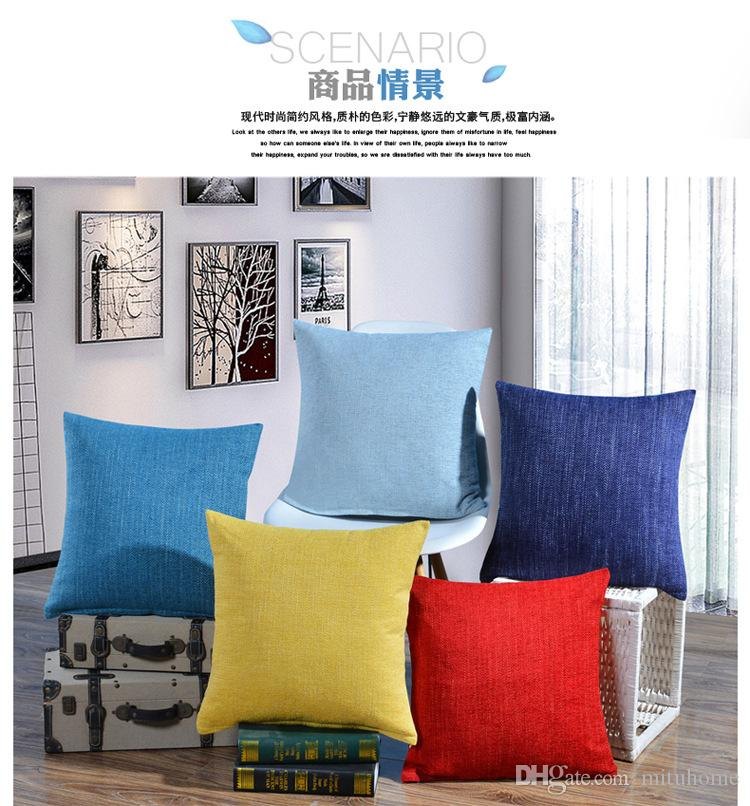 Linen/Cotton Printed Solid Pure Colour Square Home Decor Sofa Backrest Cushion Cover Car Bed Chair Office Nap Throw Pillow Case