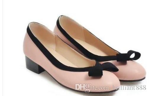 2019 Женская обувь весной и осенью с новым стилем Низкий каблук Грубый каблук с круглой головкой Bowknot @ 248