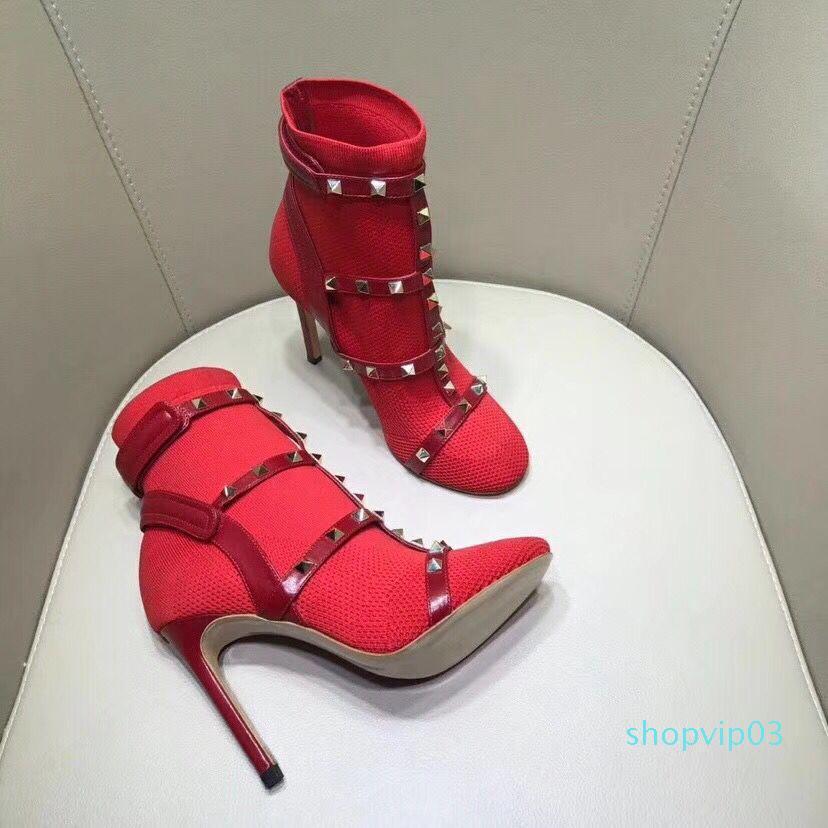La venta caliente para mujer de suela de cuero reales con los calcetines rojos se extienden negro suéter Tela botines tiran en tacones altos pernos prisioneros del punk botines