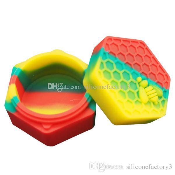 5pcs / lot 26ml hexagone avec abeille assortiment en silicone de couleur pour Dabs forme ronde Contenants en Silicone cire Silicone Pots Contenants Dab