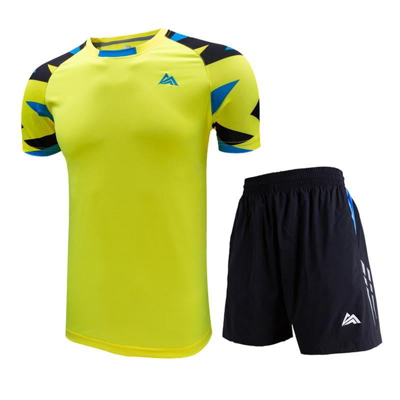 بدلة تنس الريشة الجديدة ، قميص تنس للرجال والنساء + شورت ، ملابس رياضية قصيرة الأكمام ، تجفيف سريع للتنس الرياضي