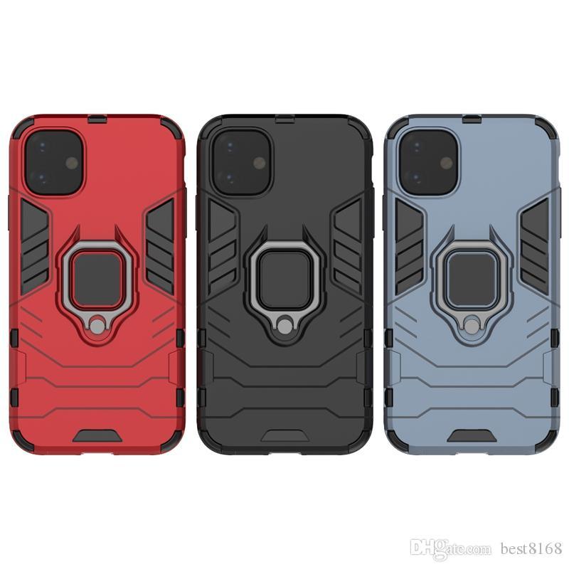 Araç Tutucu Mıknatıs Emme Hibrid Vaka Iphone 11 2019 XR XS MAX X 8 7 6 SE S10 Darbeye Sert PC + TPU + Parmak Ring Defender Beetle Kapak
