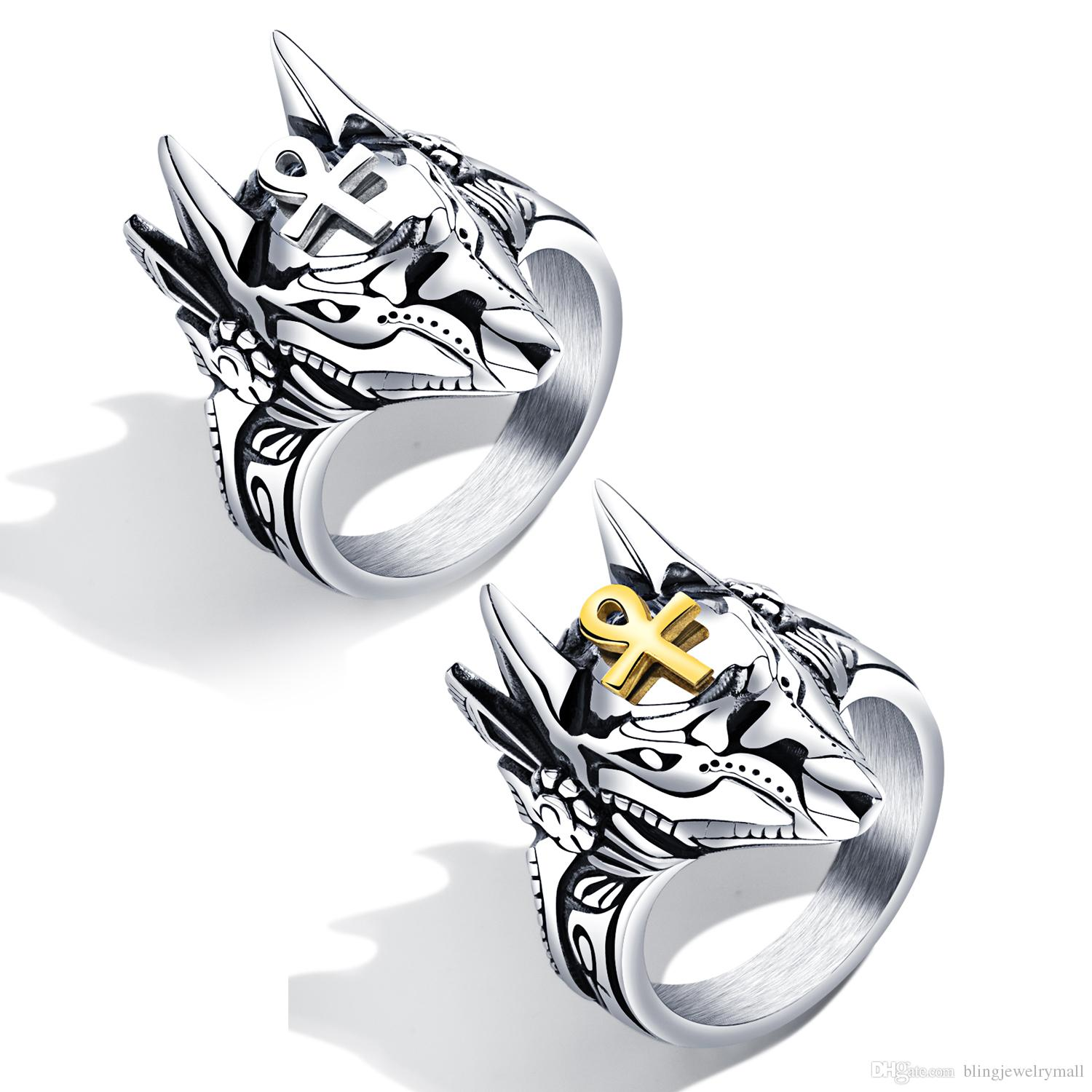 New Fashion Anubis ID Rings Male Jewelry Men's Rings Gift For Party Cross Animals Punk Jewelry Steel Color GJ626