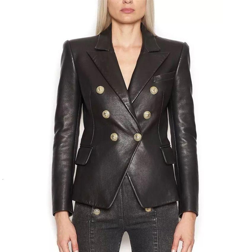 HAUTPSTRASSE Neueste Barock Fashion 2019 Designer-Blazer-Jacken Frauen Lion Metallknöpfe Kunstleder Blazer Außenmantel CJ191201