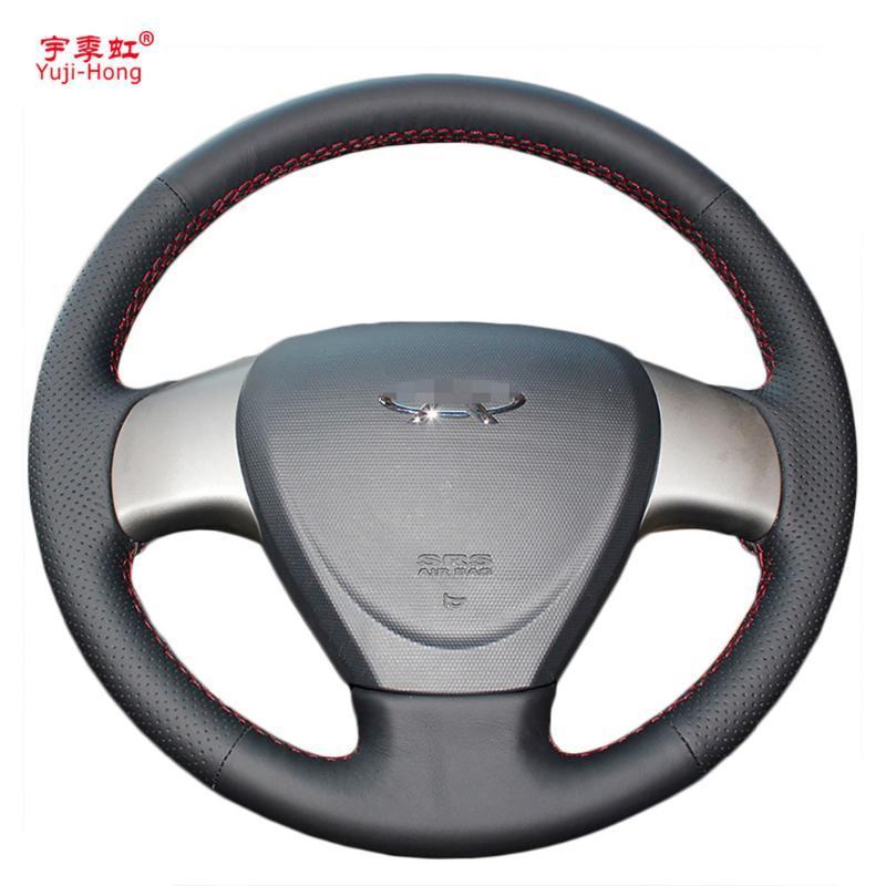 PONSNY Искусственная кожа рулевого управления колеса автомобиля Чехлы Чехол для Chery A3 M11 M12 Ручной сшиты Руководящим Cover Black