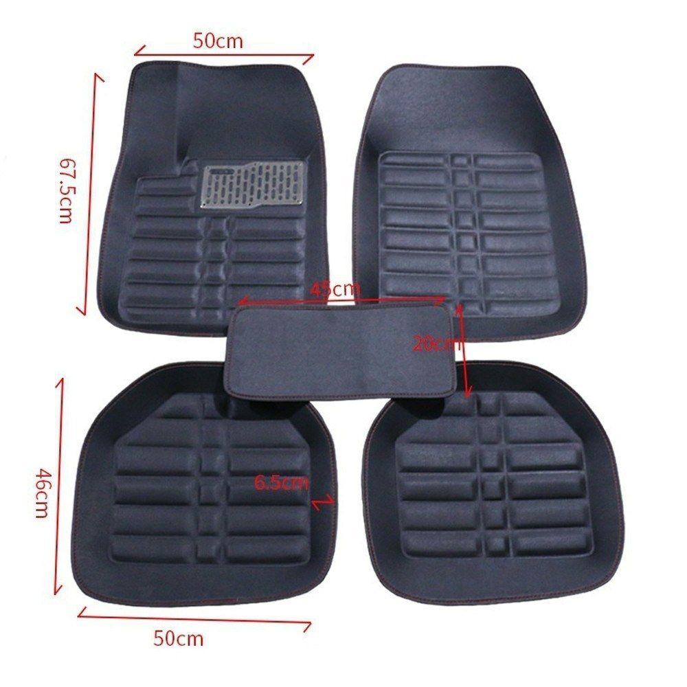 5Pcs//set universal beige car auto floor mats floor liner leather carpet   CN
