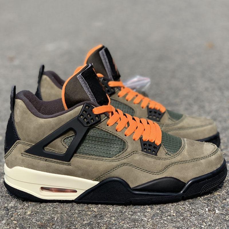 Самой новой Непобедимый х Travis Скотти Баскетбольной обувь 4S Army Green замша Limited Версия Mens Оригинального Спортивный Спорт Кроссовки