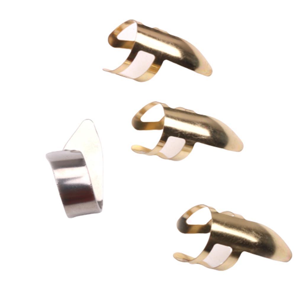 Acciaio inossidabile Finger Scelte Thumb pick pack per chitarra Ukulele Accessori