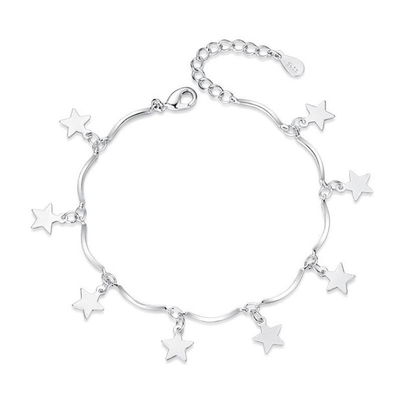 Europa Style 925 Silver Star Colgante Charm Chain Bracelet Simple Charm Bracelets Jewelry Friendship Gifts to Friends 5Y457