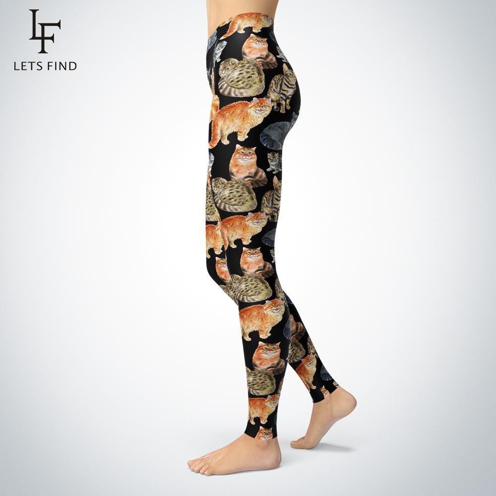 Nuovo Digital Printing Cat Leggings Womens più Fashions dimensioni ad alta elasticità metà di vita casuale aninal