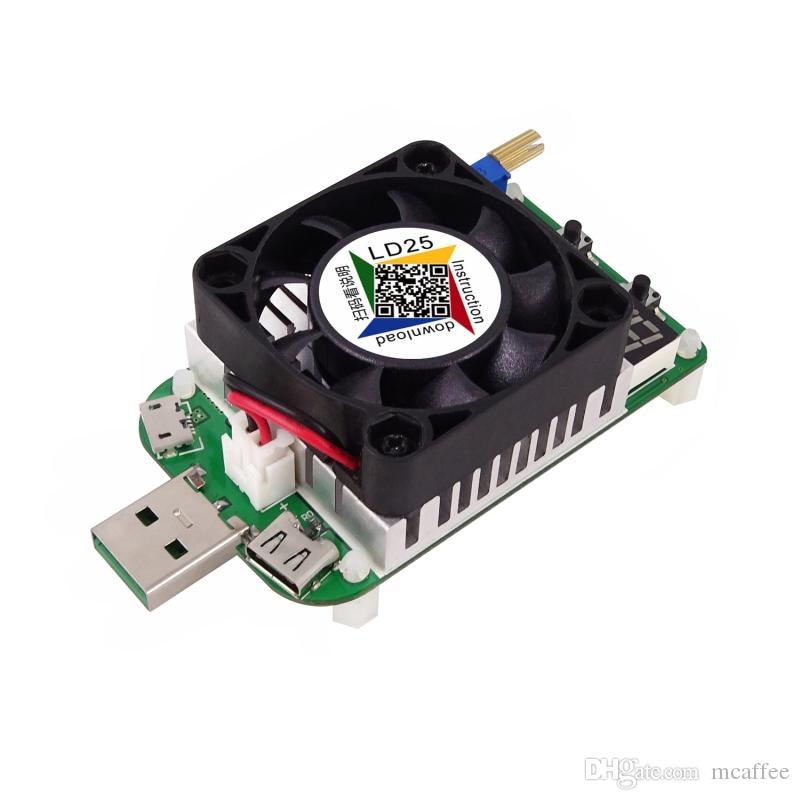 LD25 USB Elektronik Yük Dijital Ekran Test Voltaj Akımı Ölçer Soğutma Fanı 2018 Ile yeni öğe