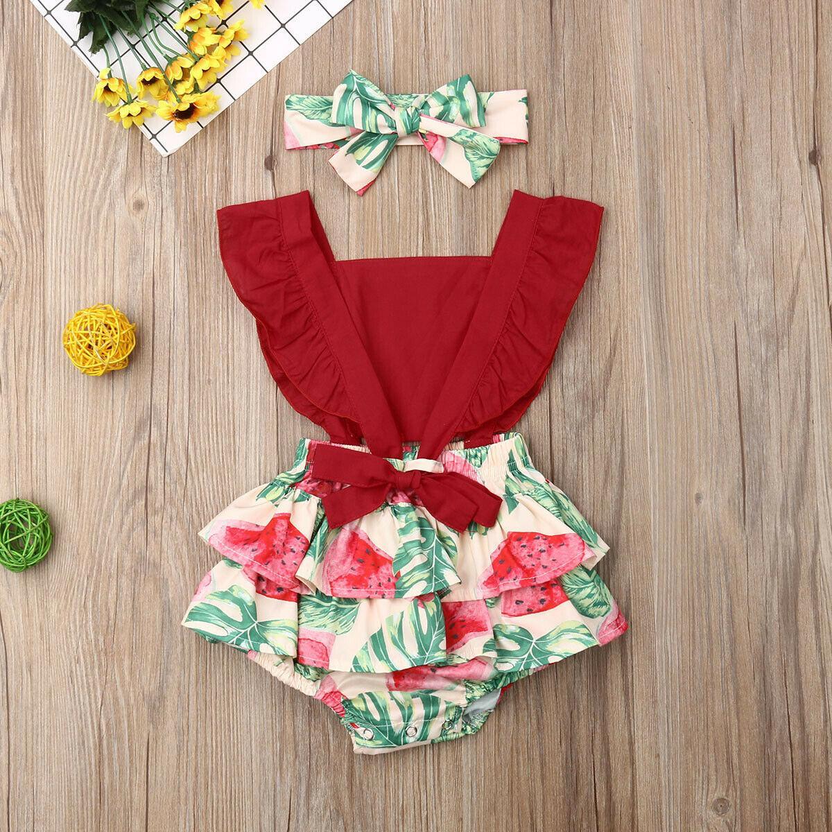 2019 do bebê roupas de verão Infante recém-nascido Floral bebé de limão melancia Bodysuit Ruffled Macacão alça roupa Outfit