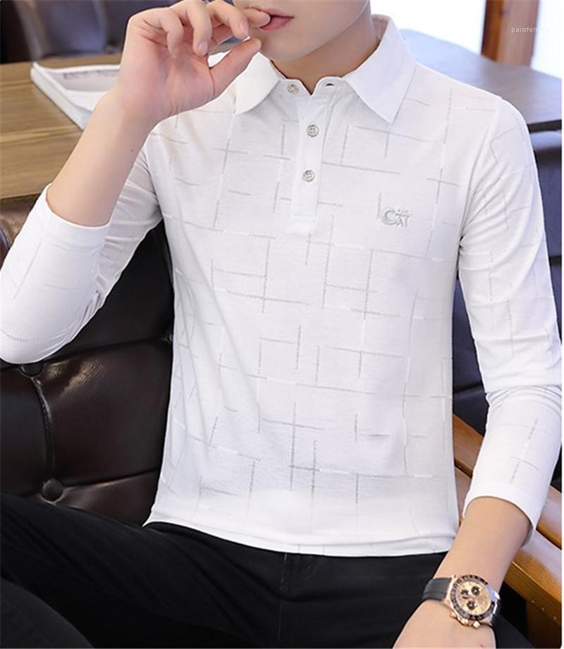 Gedrucktes beiläufigen Langärmlig drehen unten Kragen-Pullover-T-Shirts Art und Weise dünnen Knopf-T-Stücke der Männer Designer Polos