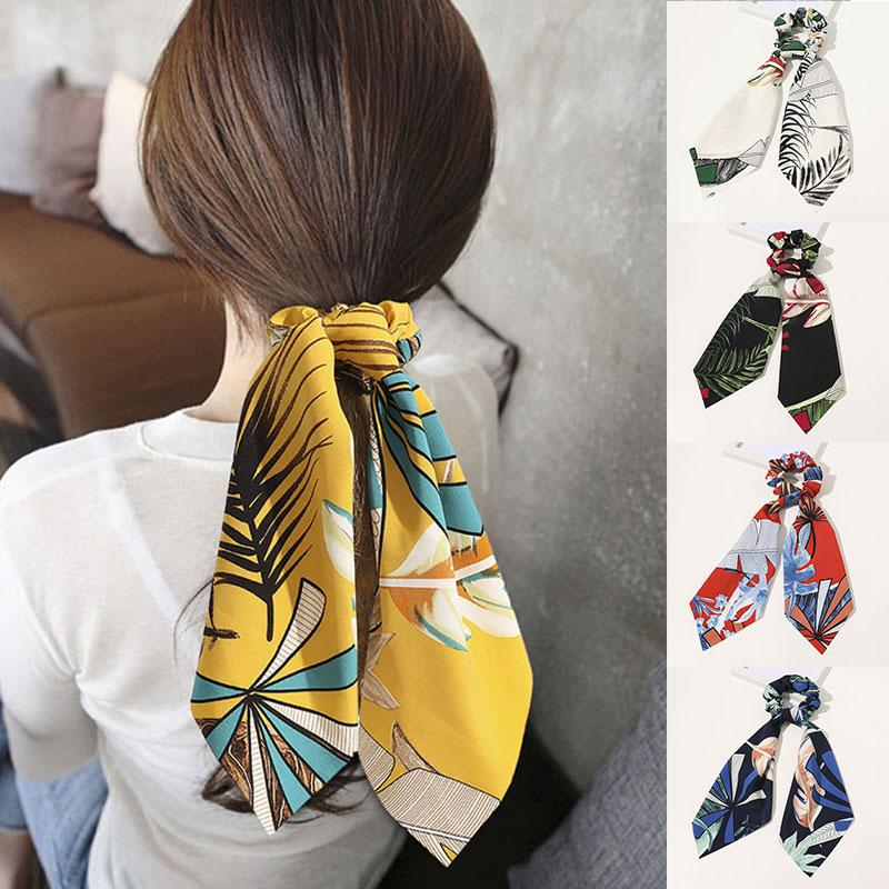 New Bohemian-Bogen-Haar Scrunchies Pferdeschwanz Schal elastische Haarbänder für Frauen Haarschleife Binder-Blumen-Band-Haar-Zusätze Drucke