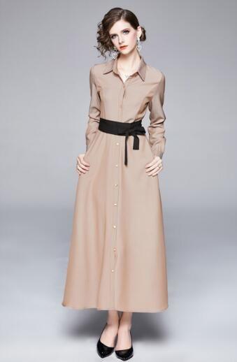 chaqueta de punto temperamento camisa larga falda de las mujeres europeas de la estación hasta el tobillo vestido largo