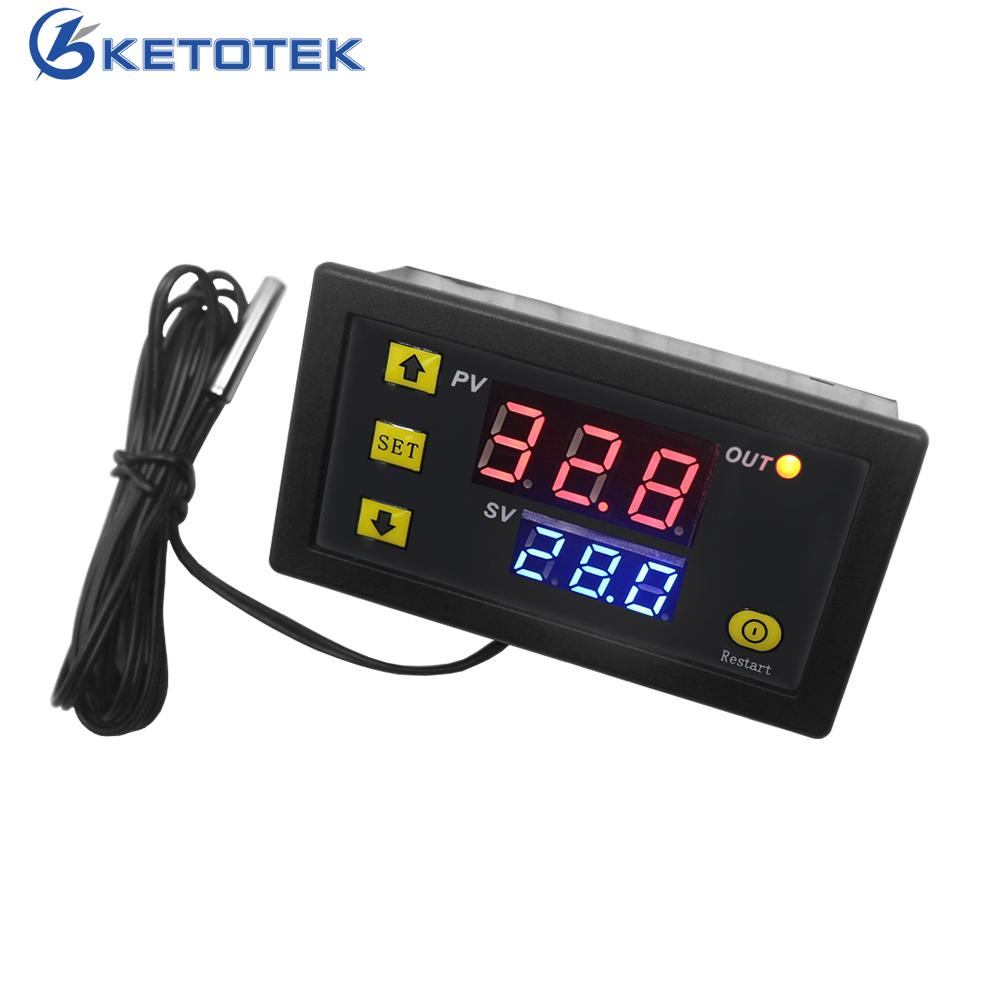Relais de thermostat d'affichage à LED de contrôleur de température à CA Digital de W3230 110V 220V avec l'instrument de commande de refroidissement de chauffage