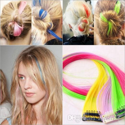 Extensão do cabelo da moda para as mulheres Longo Grampo Sintético Em Extensões Em Linha Reta peruca Partido Destaques do cabelo Do Punk peças 2019