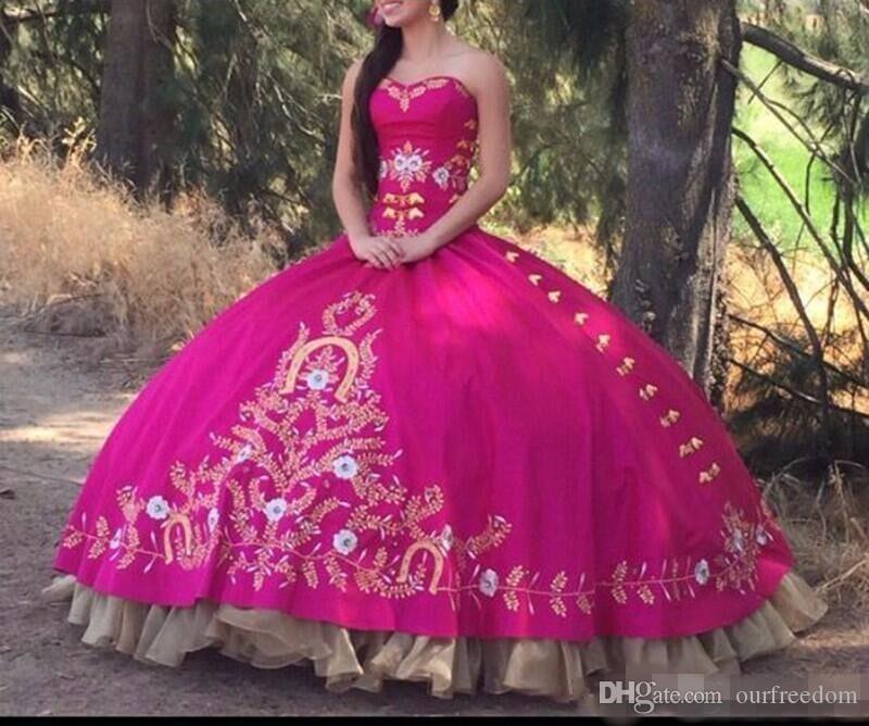 New Arrival Fuchsia Quinceanera Ball Suknie 2019 StrPaless Haft Plus Size Vestidos DE 15 Anos Sweet 16 Prom Suknie wieczorowe Custom Made