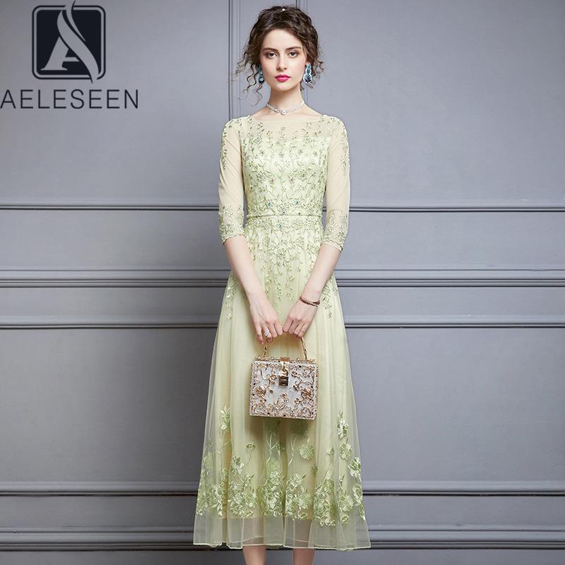 vendita all'ingrosso di alta qualità più il vestito estivo Runway Fashion Luxury 3/4 manicotto che bordano i diamanti ricamo del fiore lungo abito XXXL