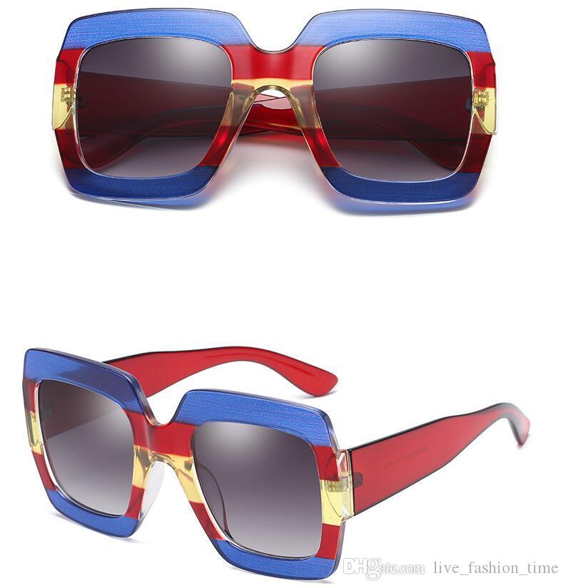 Mujeres Mujeres Square Gafas de sol Gran Diseñador W28 Vintage Sun Shades de gran tamaño Montar marco de gafas al aire libre para gafas Femeninas Nuevo UV400 FKTC
