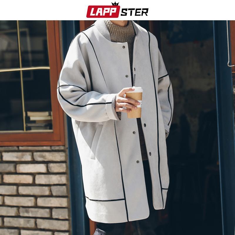 LAPPSTER hommes Fashions coréenne Manteau 2019 Coat Suede Trench Mens rayé surdimensionné Harajuku Overcaot Manteaux Veste d'hiver