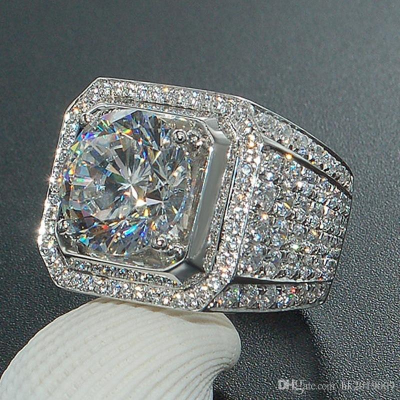 Nova Hiphip Anéis De Diamante Completos Para Mens Qualidade Superior Fashaion Hip Hop Acessórios Crytal Gems 925 Anel de Prata Por Atacado