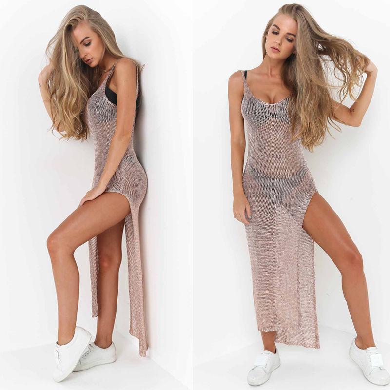 Yeni Seksi Kadınlar Tığ Cover Up Pareo Plaj Cover Up Katı Seksi Güneş Elbise Yaz Plaj Kıyafeti See Through
