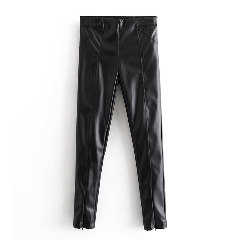 AGONG peluche PU Pantalon en cuir Femmes Mode Haute imitation cuir Pantalons femmes élégantes Pantalons Zipper solides Femme Mesdames JX V191111