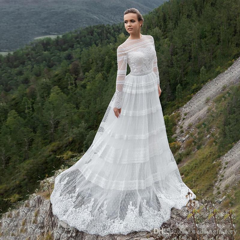 2019 Elegante manga larga O cuello apliques de encaje Una línea Boho Vestidos de novia Vestidos de novia bohemios de estilo rural