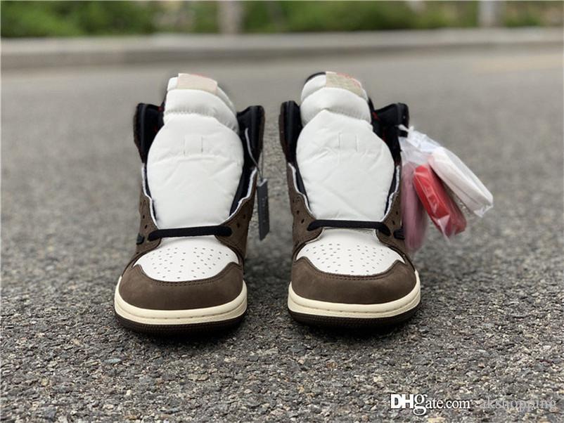 2020 Hottest Трэвис Скотт X 1S High OG TS SP 1 Мужчины с низким ретро Баскетбол обувь Sail Dark Mocha Университет Открытый Кроссовки US5-13