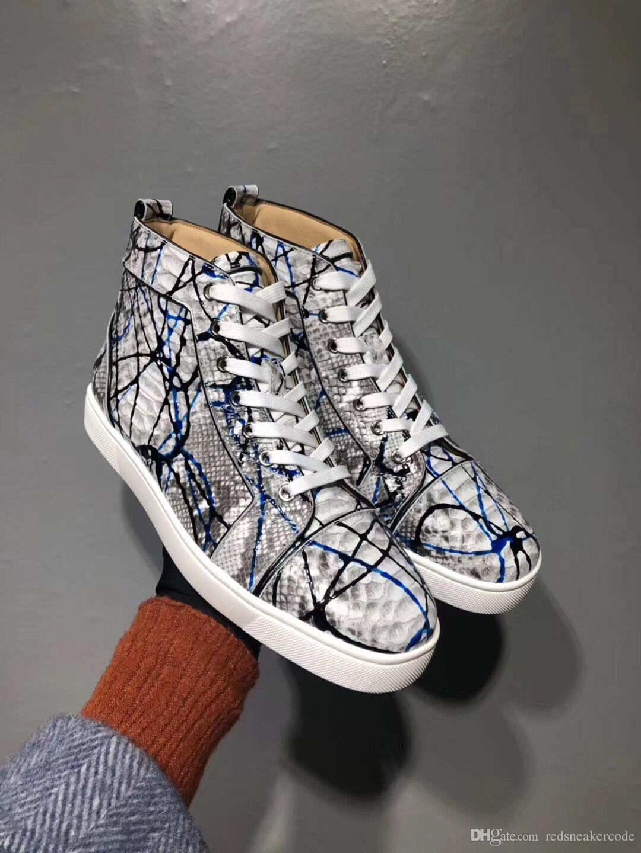 Graffiti Python En Cuir High Top Sneakers Chaussures Femmes, Hommes Rouge Bas Casual Party Leisure Appartements Célèbre Robe Marcher Avec Boîte EU35-46
