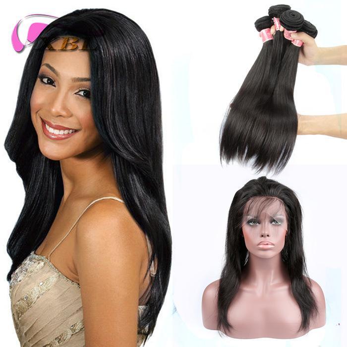XBL serica estensioni dei capelli umani del Virgin dei capelli 360 Pizzo frontale con insieme Pre pizzico Totale 4 Pezzi