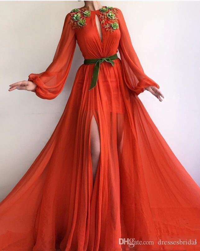 Compre Nuevo Diseño Vestidos De Baile 219 Chifón Una Línea Joya Cuello Mangas Completas Apliques De Encaje Vestido Largo De Noche Vestidos Largos
