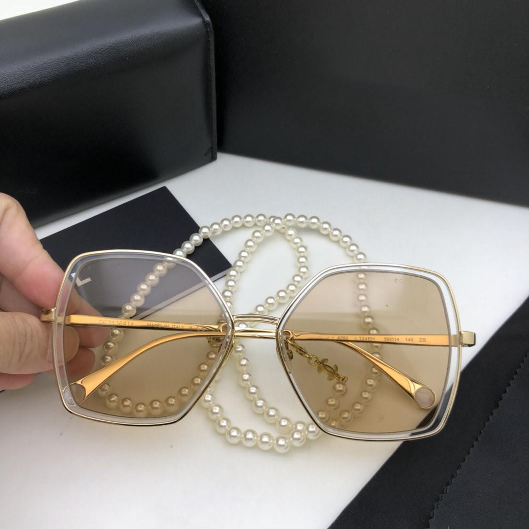Dames nouvelles lunettes de soleil de la chaîne de perles de luxe 2020 chaîne d'usure polarisée de la mode 4262