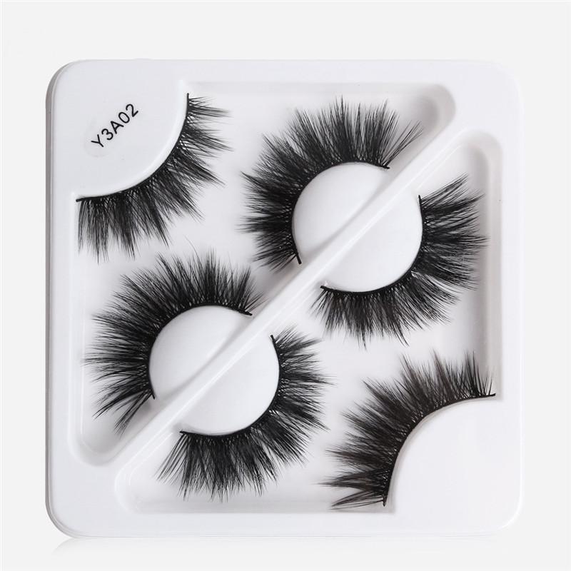 Yüksek Kaliteli 5D Sahte Vizon Kirpikleri Kalın Cilt 3D Yanlış Eyelashes Doğal Uzun Sahte Göz Lashes Mini 3pairs / kutu kirpikler maquiagem