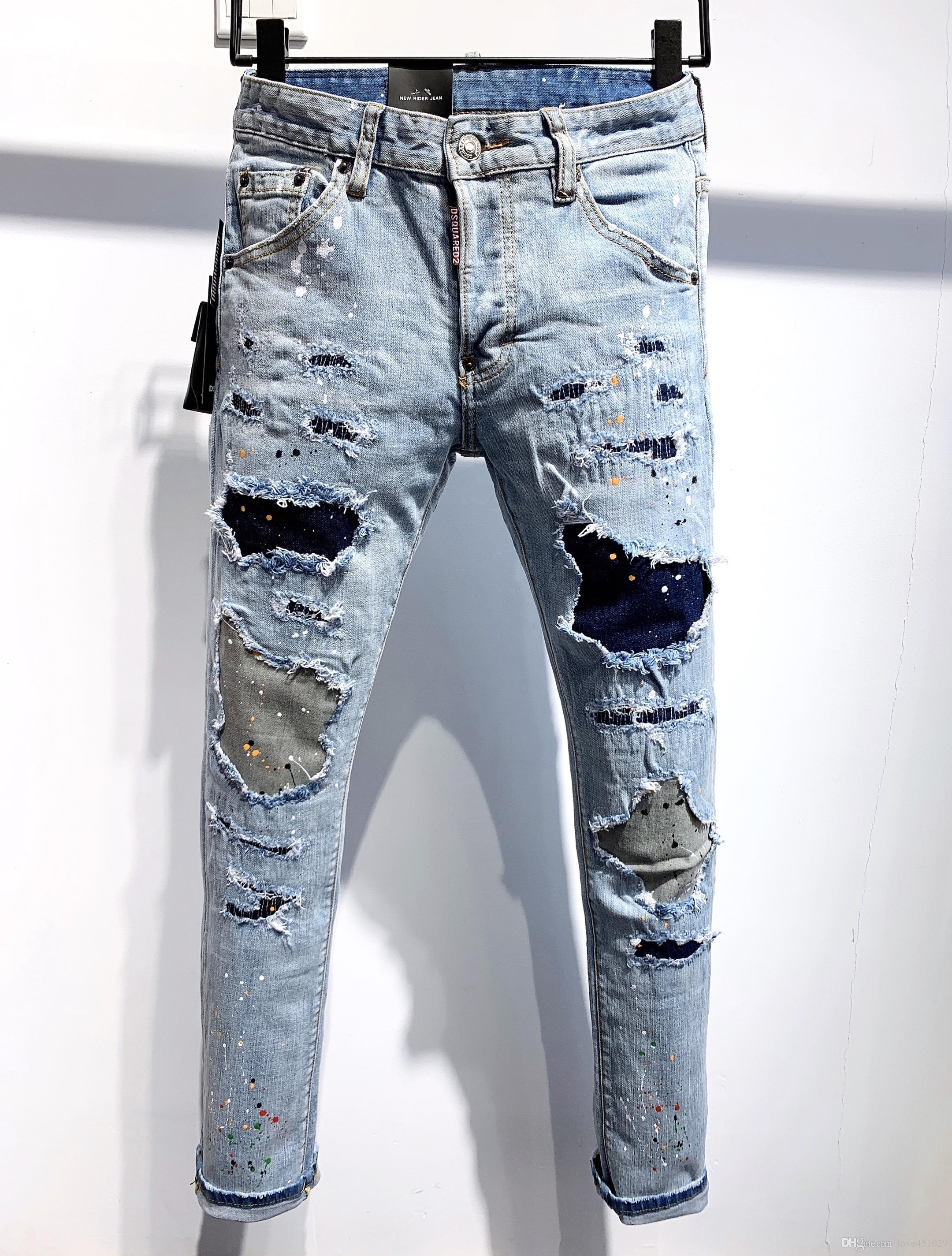 2020 Jeans Mens Distressed rasgado Biker Jeans Slim Fit Motociclista Denim desenhador de moda Pants Hip Hop Jeans Mens 01