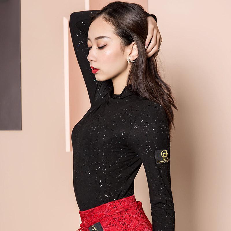Latin Dans Pratik Giyim Kadın Yetişkin Yeni Uzun kollu Payet Gömlek Kadın Samba Rumba Balo Dans Eğitimi DWY2735 Tops
