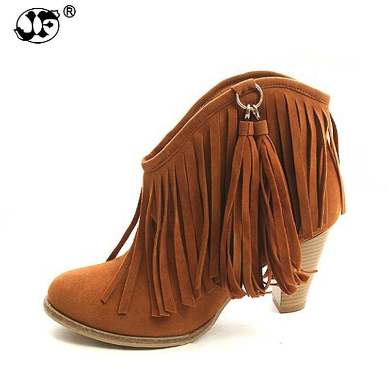2018 Large Size 34-43 Black Brown Pink Tassels Platform Women Shoes Woman Vintage Fringe High Heels Ankle Boots yji89