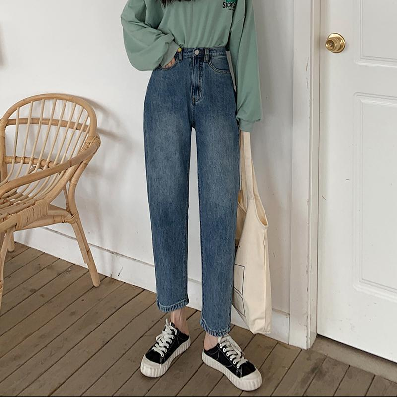 GUUZYUVIZ Jeans Vintage femme taille haute Sarouel Denim Femme Taille Plus Boyfriend Jeans en vrac pour les femmes Blue Jeans Mujer