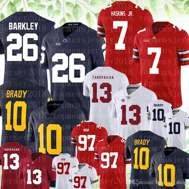 NCAA ولاية أوهايو بوكس رقم 7 دواين هاسكينز الابن رقم 97 بوسا جيرسي ولاية بنسلفانيا Nittany الليونز 26 Saquon باركلي 13 توا Tagovailoa