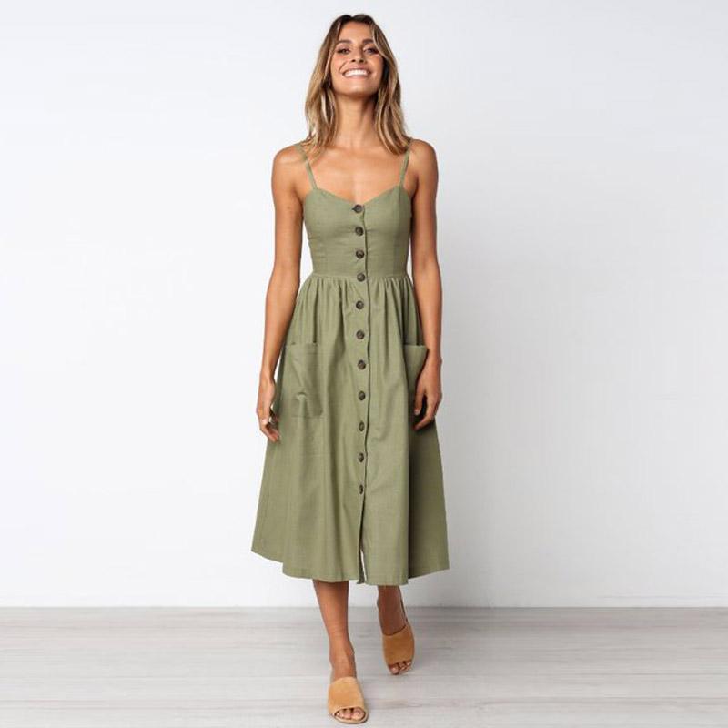NEW style Fashion Women Summer Boho Sleeveless Strappy V-neck Bandage Party Beach Dress bayan elbiseler 2020 Robe Longue Femme