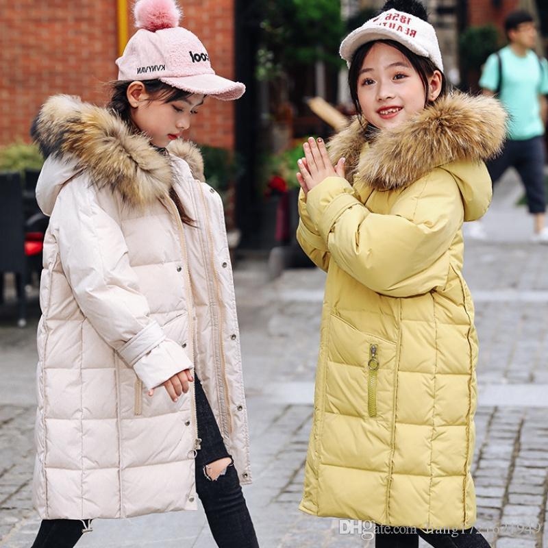 yeni büyük çocuk kış uzun bölümünde kızlar kalın çocuk aşağı ceket giymek
