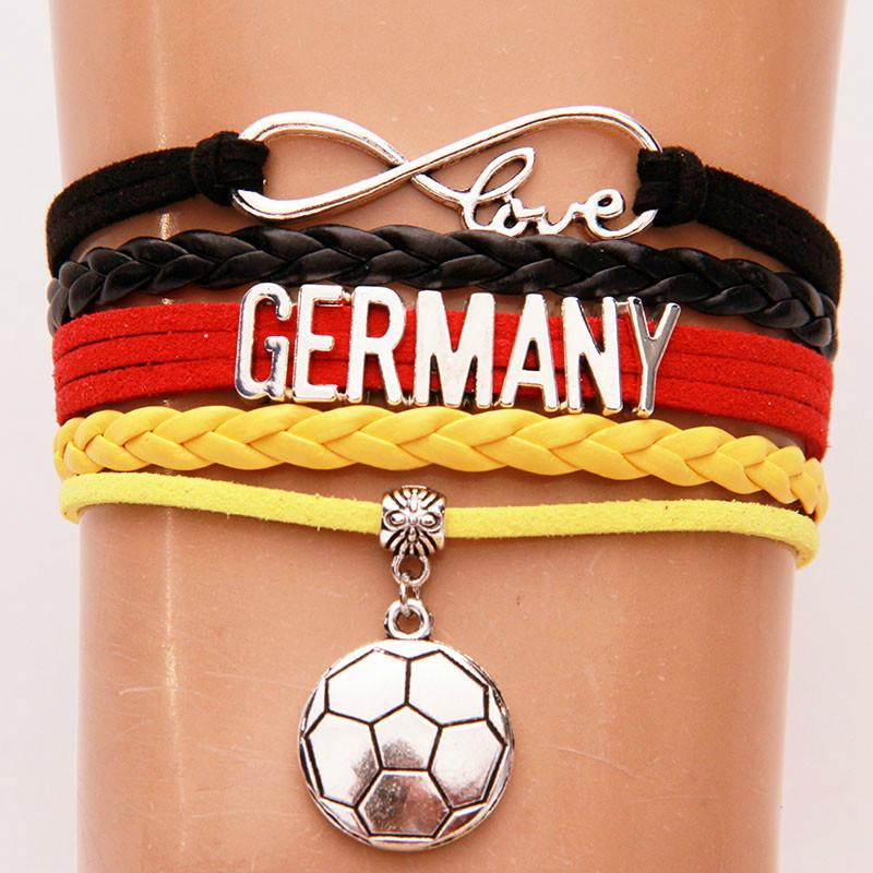 Infinity Love Germany Bracelets Bangles Soccer Charm Braided Pu Leather Bracelet Jewelry For Women Men Hot Drop Shipping