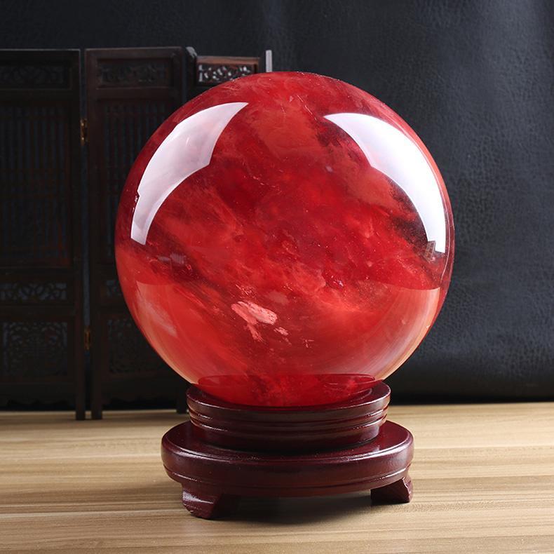 أعلى! حول 1KG الأحمر ذوبان حجر الكوارتز المجال الكريستال الكرة الريكي الشفاء
