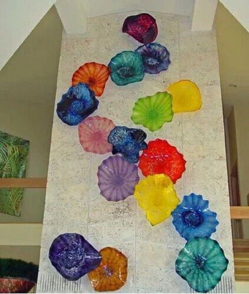 Turkey Design Blown Glass Plate Murano borosilicate glass chandelier lighting Beautiful Murano Glass Wall Art Lamp