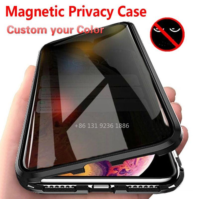 Caso de metal de privacidade magnética para iphone 13 12 11 pro máximo xs max xr x 7 8 6 6 s mais impedir o peep temperado para 13Pro 12Pro caso caso mantenha privado