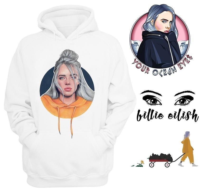 Новая весна Billie Eilish Hoodie печати с капюшоном Женщины Мужчины Толстовка Одежда Harajuku Повседневная продажа Горячие Толстовки Толстовки KPop Regular